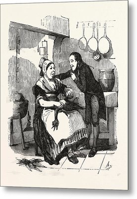 The Cook And Her Admirer In The Kitchen, Cleaning A Goose Metal Print by French School