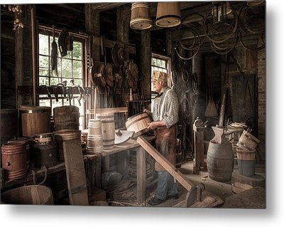 The Cooper - 19th Century Artisan In His Workshop  Metal Print by Gary Heller