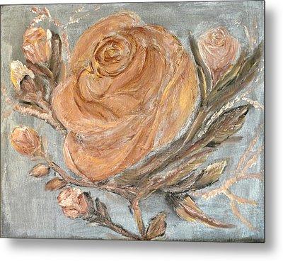 The Copper Rose Metal Print by Corina Lupascu
