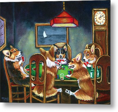 The Corgi Poker Game Metal Print by Lyn Cook