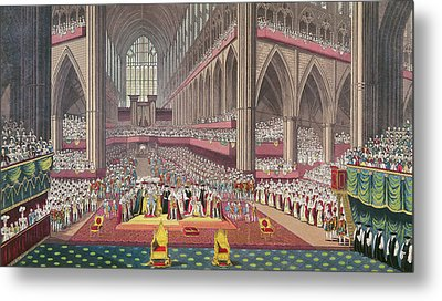 The Coronation Of King William Iv And Queen Adelaide, 1831 Colour Litho Metal Print