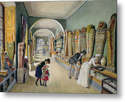 The Corridor And The Last Cabinet Of The Egyptian Collection In The Ambraser Collection Metal Print by Carl Goebel