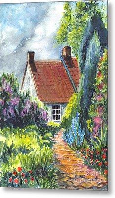 The Cottage Garden Path Metal Print by Carol Wisniewski
