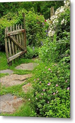 The Cottage Garden Walkway Metal Print by Thomas Schoeller