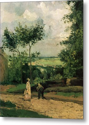 The Courtyard At Louveciennes Metal Print by Camille Pissarro