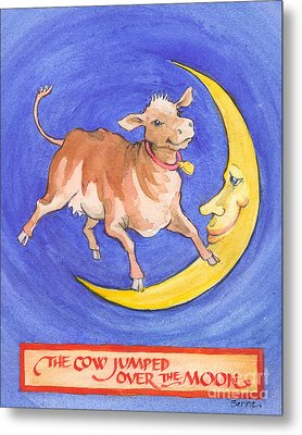 The Cow Jumped Over The Moon Metal Print by Lora Serra