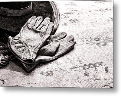 The Cowboy Gloves Metal Print by Olivier Le Queinec