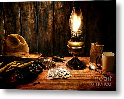 The Cowboy Nightstand Metal Print by Olivier Le Queinec