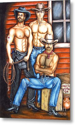 Metal Print featuring the drawing The Cowboy Way by Joseph Sonday