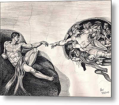 The Creation Of Adam A Redraw Metal Print by Beverly Marshall