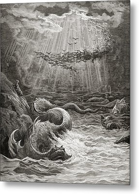 The Creation Of Fish And Birds Metal Print by Gustave Dore