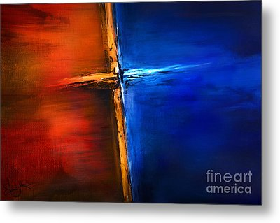 Metal Print featuring the mixed media The Cross by Shevon Johnson