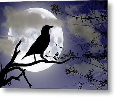 The Crow And Moon Metal Print by Brian Wallace