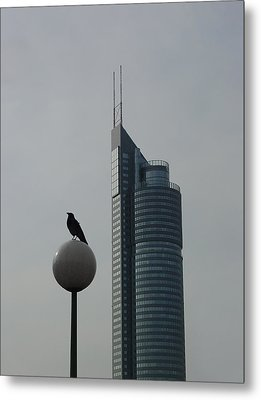 The Crow And The Milleniumtower In Winter Metal Print