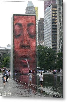 The Crown Fountain Metal Print by Jessica Berlin