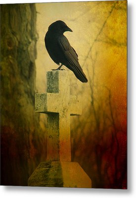 The Crow's Cross Metal Print by Gothicrow Images