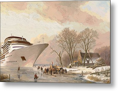 Metal Print featuring the painting The Cruiseboat by Nop Briex