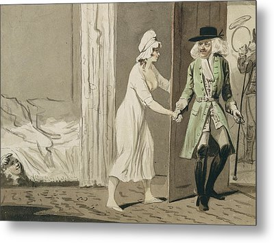 The Cuckold Departs For The Hunt Metal Print by Isaac Cruikshank