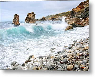 The Curl - Crashing Waves From Soberanes Point In Garrapata State Park Metal Print by Jamie Pham