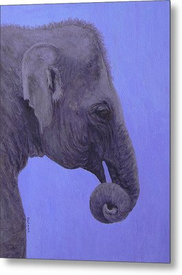 Metal Print featuring the painting The Curled Trunk by Margaret Saheed