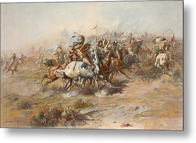 The Custer Fight  Metal Print by War Is Hell Store