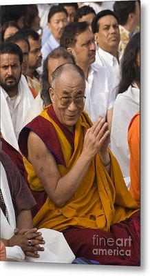 The Dalai Lama At Gandhis Raj Ghat - New Delhi Metal Print by Craig Lovell