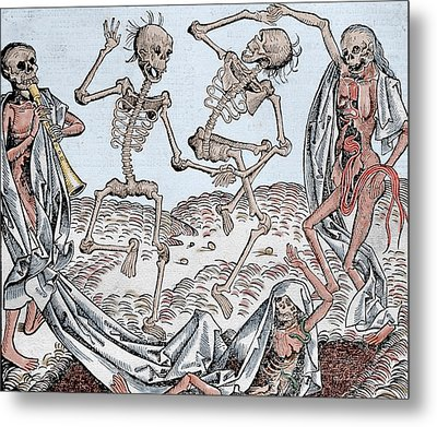 The Dance Of Death Metal Print by Michael Wolgemut