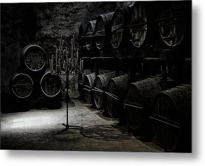 The Dark Atmosphere Of An Old Wine Cellar Metal Print