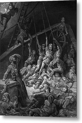 The Dead Sailors Rise Up And Start To Work The Ropes Of The Ship So That It Begins To Move Metal Print by Gustave Dore