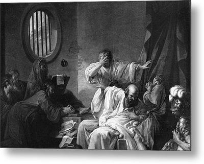 The Death Of Socrates Metal Print by Jacques Philippe Joseph de Saint-Quentin