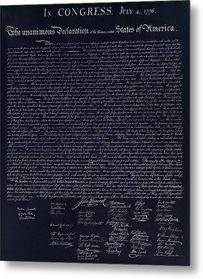 The Declaration Of Independence In Negative  Metal Print by Rob Hans