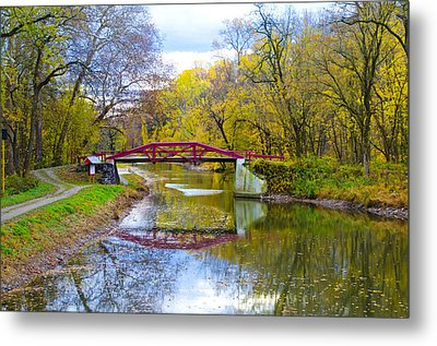 The Delaware Canal Near New Hope Pa In Autumn Metal Print by Bill Cannon