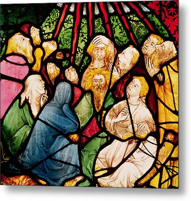 The Descent Of The Holy Spirit, C.1400 Stained Glass Metal Print by French School