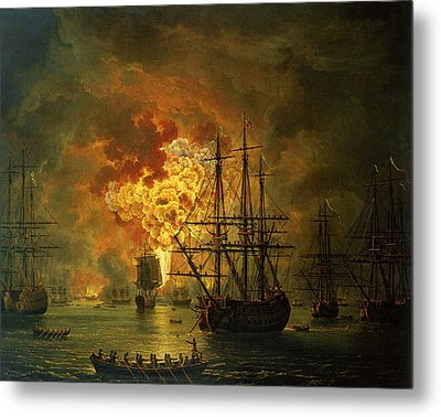 The Destruction Of The Turkish Fleet At The Bay Of Chesma Metal Print