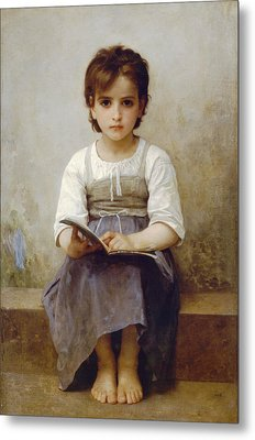 The Difficult Lesson Metal Print by William Bouguereau