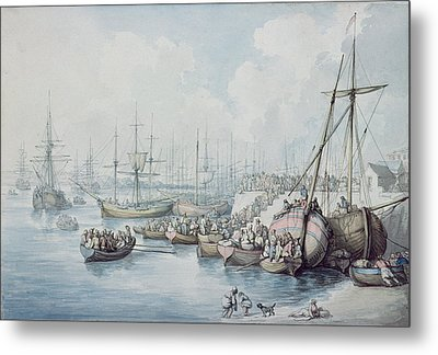 The Disembarkation Of The Royalists Of Toulon At Southampton In 1794 Metal Print by Thomas Rowlandson