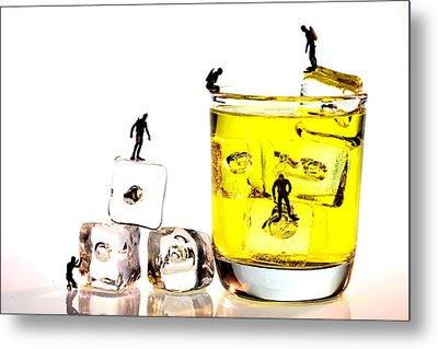 The Diving Little People On Food Metal Print by Paul Ge