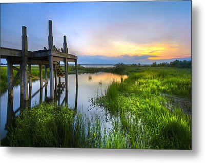 The Dock Metal Print by Debra and Dave Vanderlaan