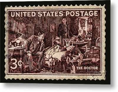 The Doctor - Concerned Physician Postage Stamp Metal Print by Phil Cardamone