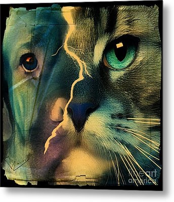 Metal Print featuring the digital art The Dog Connection -green by Kathy Tarochione