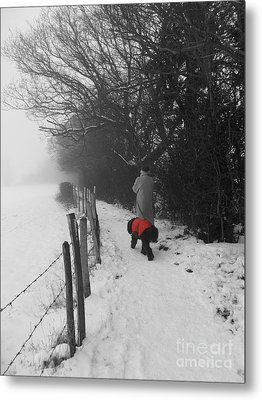 The Dog In The Red Coat Metal Print by Vicki Spindler