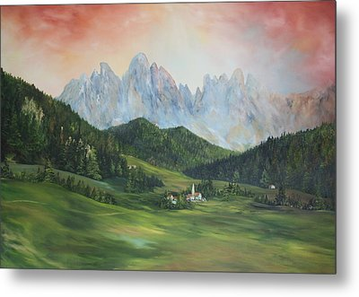 Metal Print featuring the painting The Dolomites Italy by Jean Walker