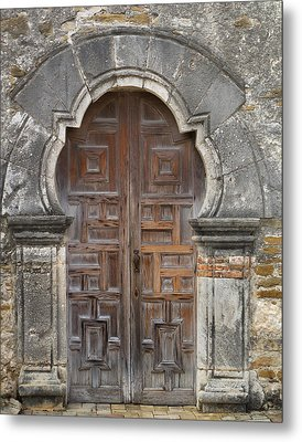 The Door Of Espada Mission  Metal Print by David and Carol Kelly
