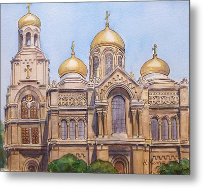 The Dormition Of The Mother Of God Cathedral  Varna Bulgaria Metal Print by Henrieta Maneva
