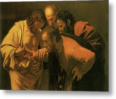 The Doubting Of St Thomas Metal Print by Caravaggio