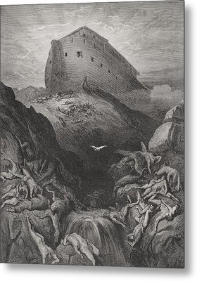 The Dove Sent Forth From The Ark, Genesis 138-9, Illustration From Dores The Holy Bible, 1866 Metal Print by Gustave Dore