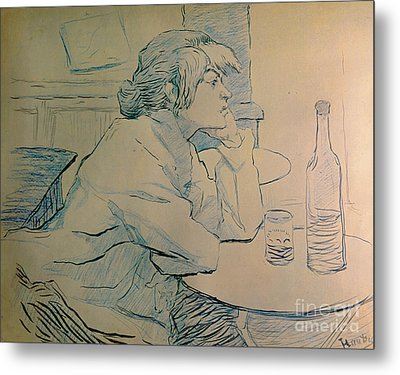 The Drinker Or An Hangover Metal Print by Henri de Toulouse-lautrec