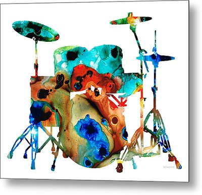 The Drums - Music Art By Sharon Cummings Metal Print