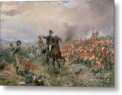 The Duke Of Wellington At Waterloo Metal Print by Robert Alexander Hillingford