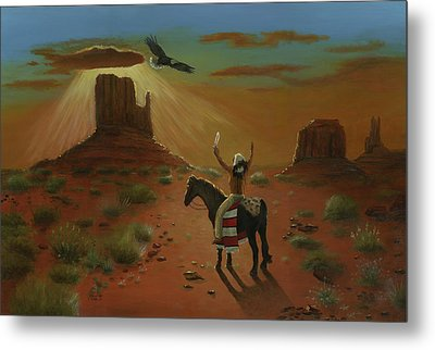 The Eagle And The Indian Metal Print by Cecilia Brendel